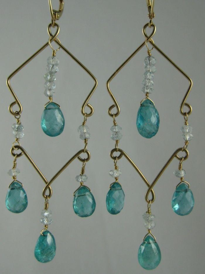 Sarilicious Earrings -  Aquamarine, Apatite,   14K Gold   $275