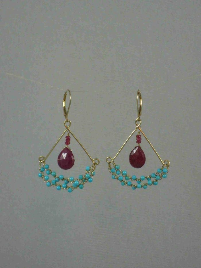 Chandy Earrings -  Sleeping Beauty Turquoise and Ruby,   14K Gold  $235