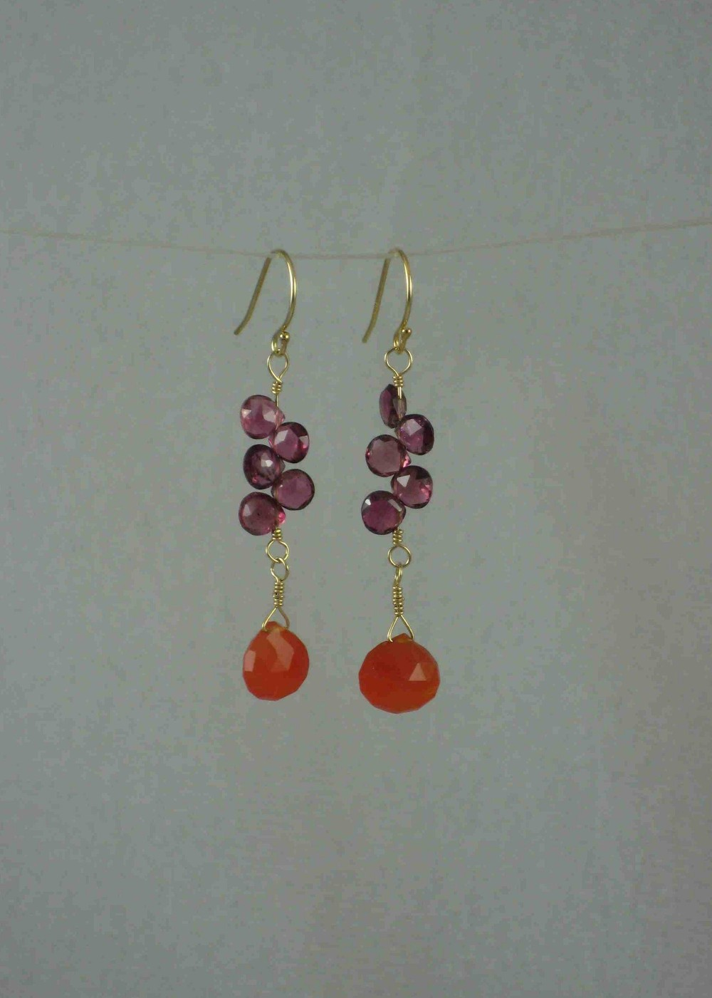 Carnelian Petal Drop Earrings $85