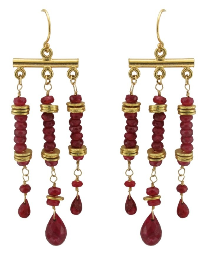 Marrakech Earrings -  Ruby, 14k Gold-Filled  $155