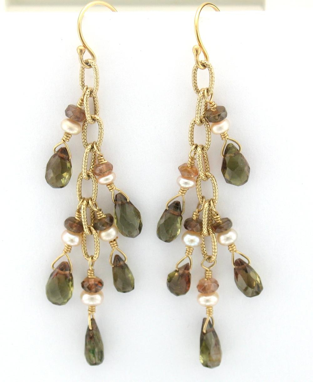 Confetti Earring -  Andalusite and Pearl, 14K Gold-Filled   $115