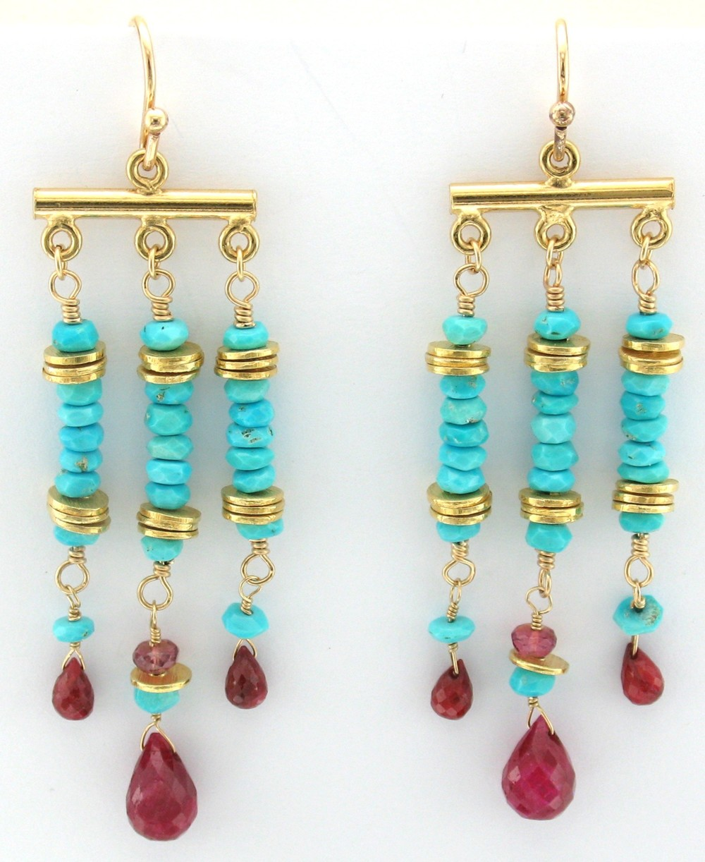 Gold, Ruby and Sleeping Beauty Turquoise Marrakech Earring $155