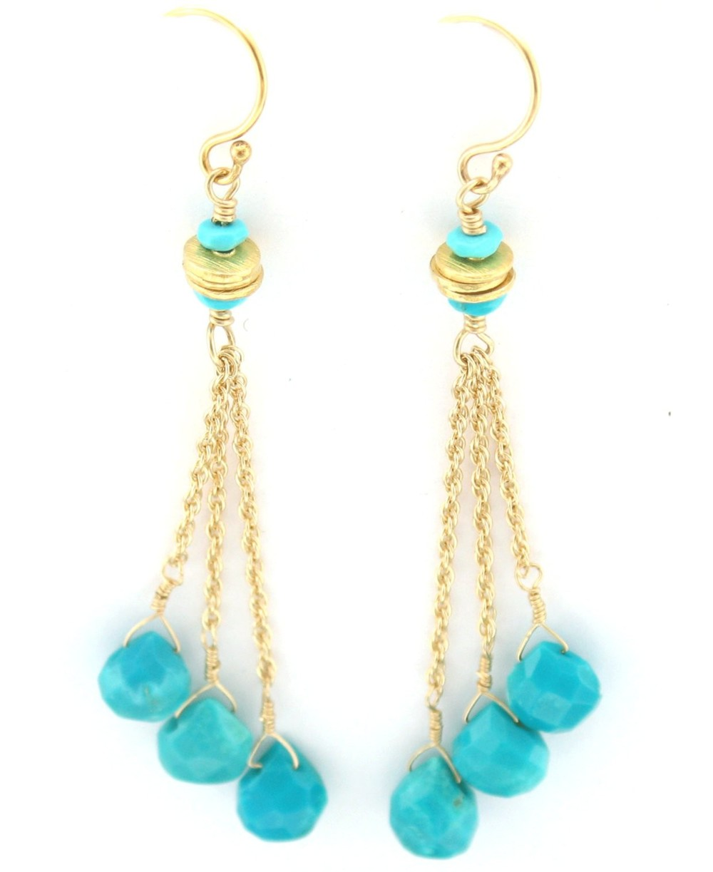 Three Gold Disc Turquoise Dangle Earring $135