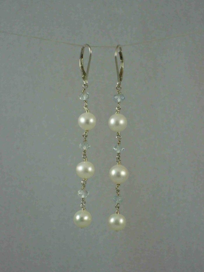 Something Blue Pearl Link Earrings
