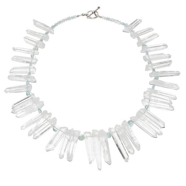 Icicle necklace - Crystal Quartz and Aquamarine $275