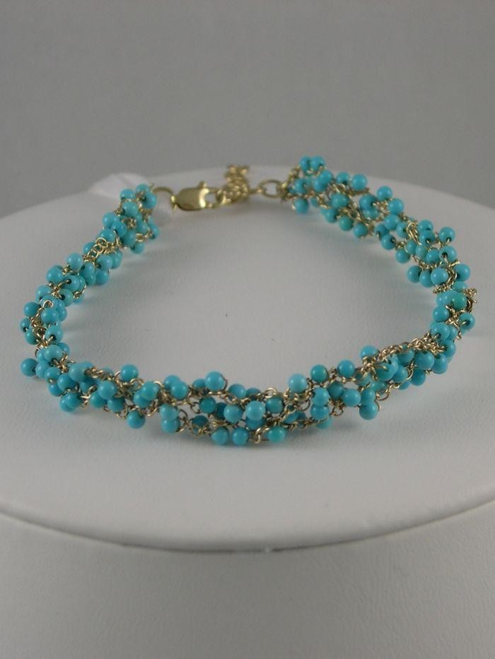 Braided Cuff Bracelet - Sleeping Beauty Turquoise and 14k Gold  $525