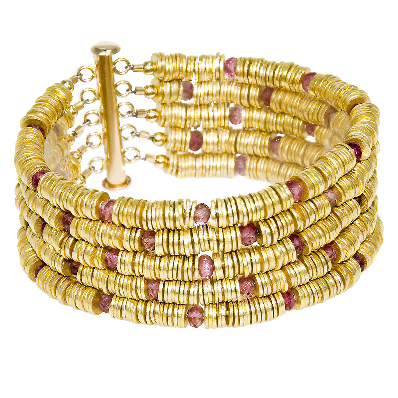 Serpent Bracelet-Pink Tourmaline and Gold Vermeil $375