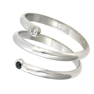Sterling Silver Circle of Life Ring- Black and White Diamonds $225
