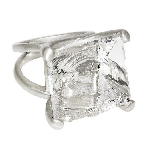 Sterling Silver Hammered Quartz Ring $765