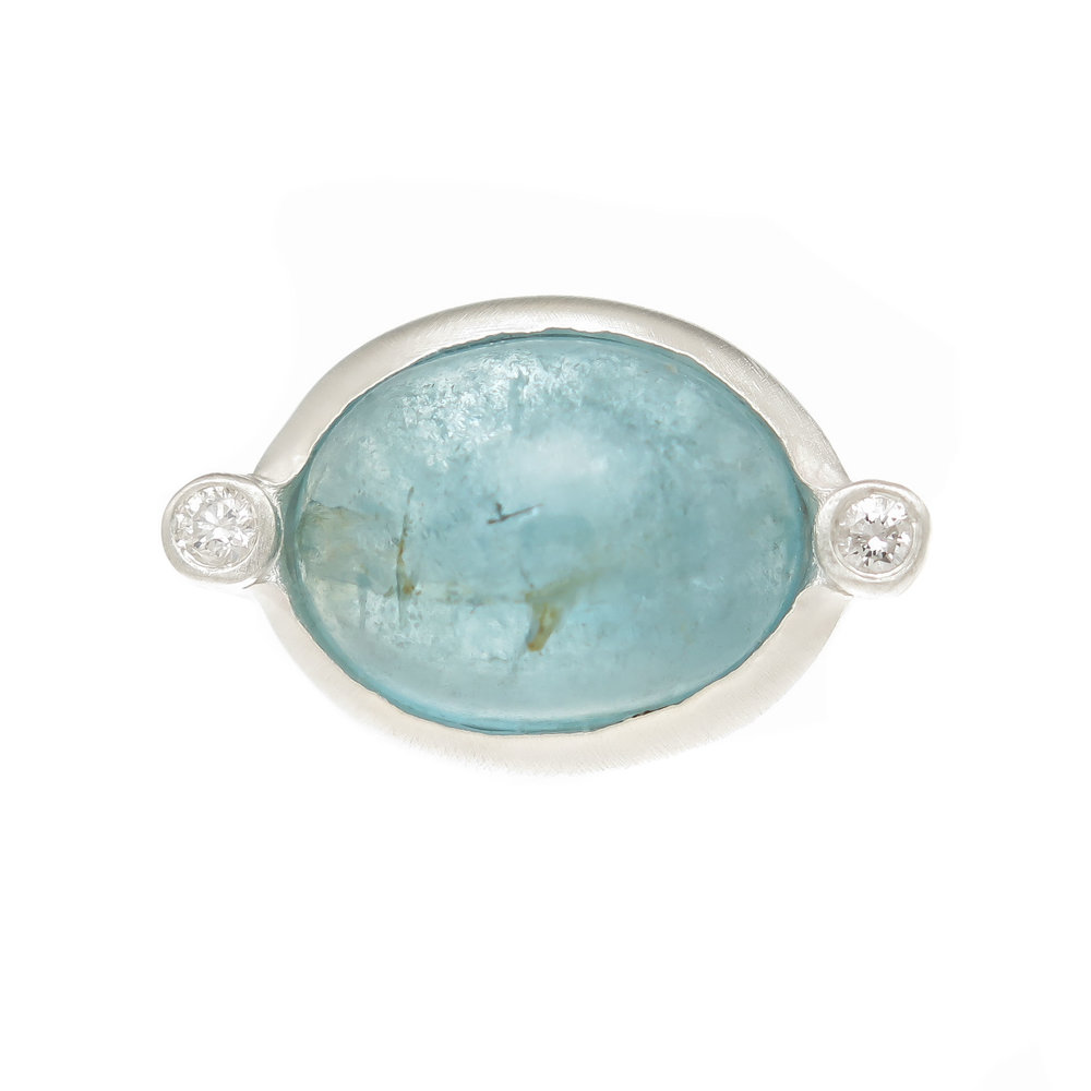Aquamarine and Diamond Sterling in Silver Ring $425