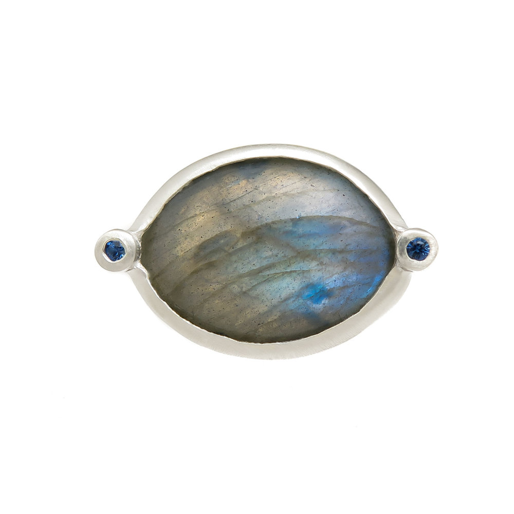 Labradorite and Sapphire in Sterling Silver Ring $425
