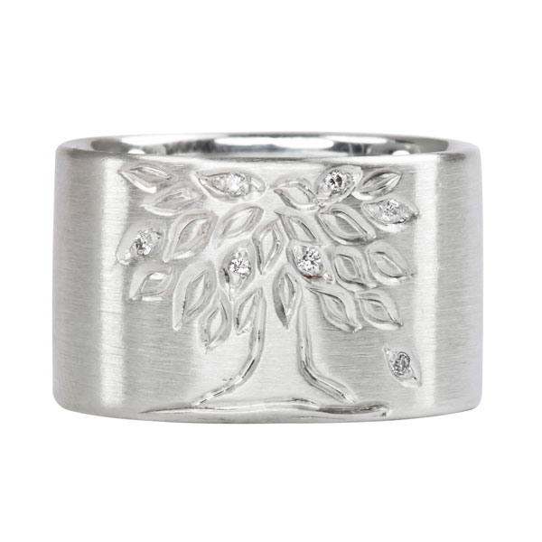 Tree of Life Diamond and Sterling Silver Ring $415