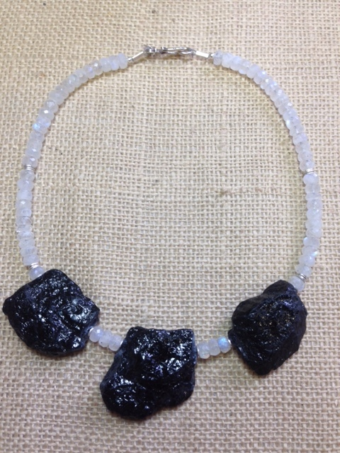 Black Tourmaline and Moonstone $325