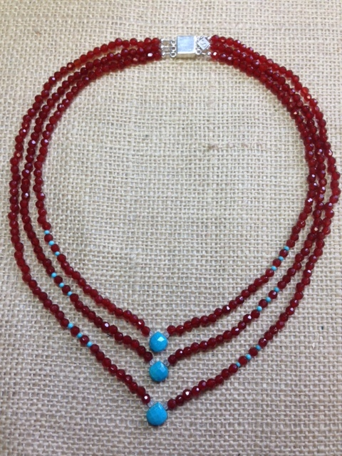 Carnelian and Turquoise Necklace $125