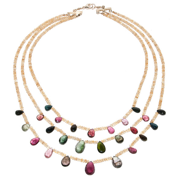 Web Necklace - Citrine and Watermelon Tourmaline $385