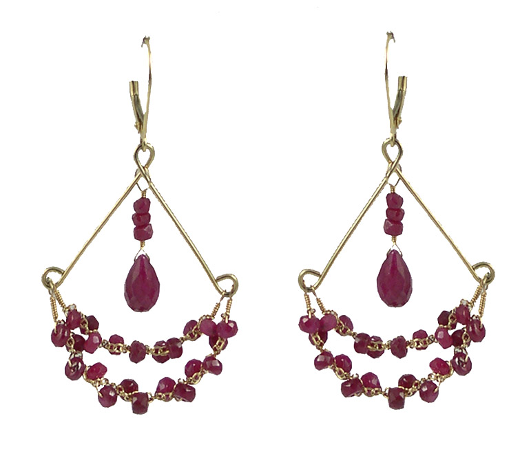 Chandy Earrings- Ruby, 14K Gold $235