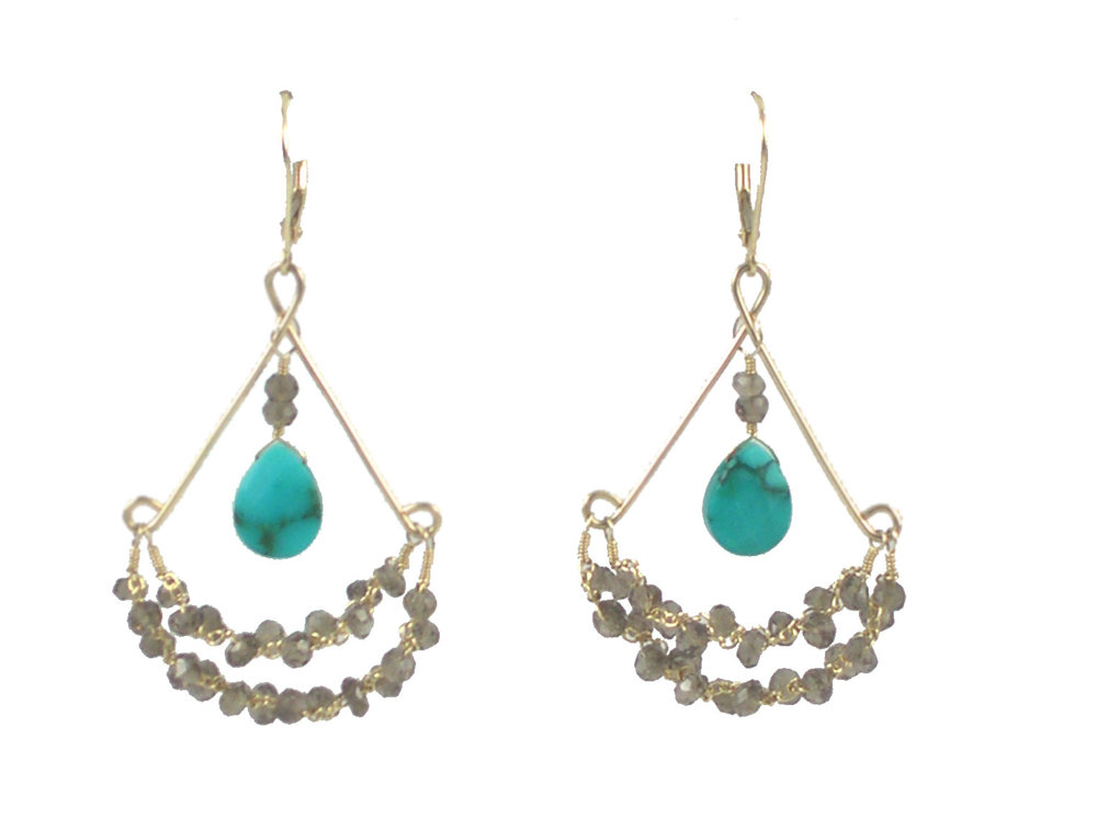 Chandy Earrings -  Turquoise and Smoky Quartz, 14K Gold $245
