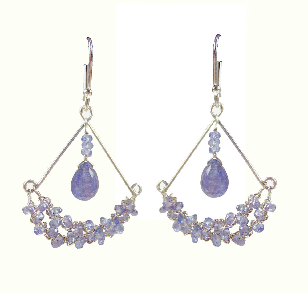 Chandy Earring -Tanzanite, Sterling Silver $135