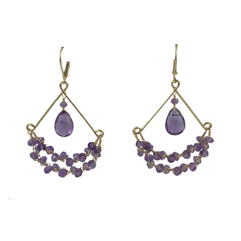 Chandy Earrings -  Amethyst,   14K Gold  $235