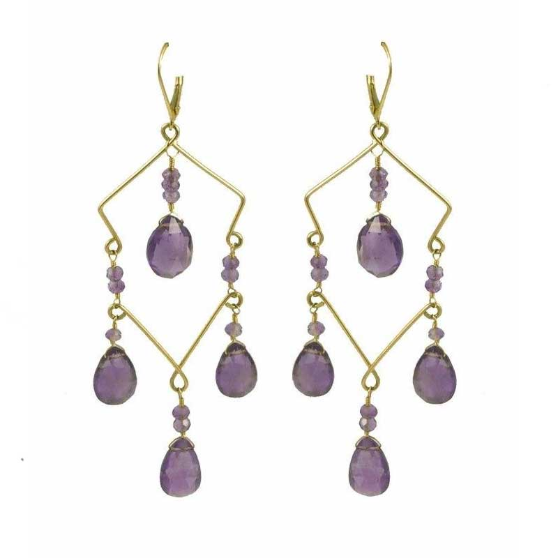 Sarilicious Earrings -  Amethyst,   14K Gold    $275