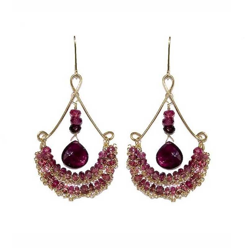 Chandy Earrings -  Pink Tourmaline,   14k Gold  $245