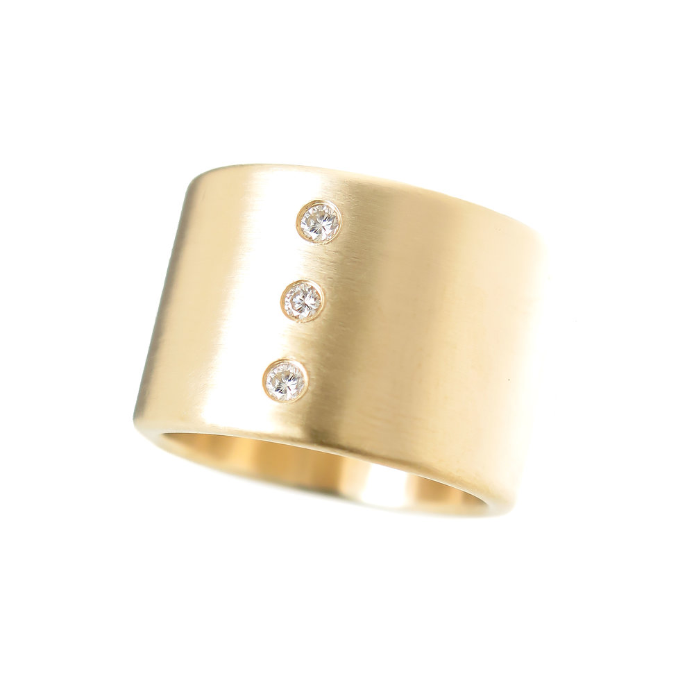 Health, Wealth a& Happiness Ring- 3 Diamond Ring in 14K Gold Approx. $1865