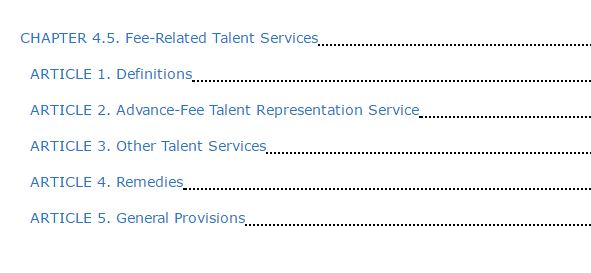 Casting Director Workshops and Other Fee-Related Talent Services