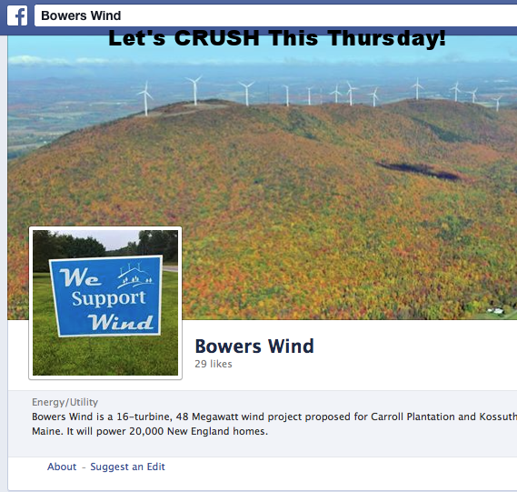 VERY IMPORTANT BULLETIN FOR ALL INDUSTRIAL WIND FOES IN MAINE!