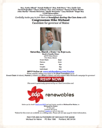 "CLICK TO ENLARGE, DOWNLOAD: EDP Renewables knows what it wants from ""Governor Mike Michaud."""