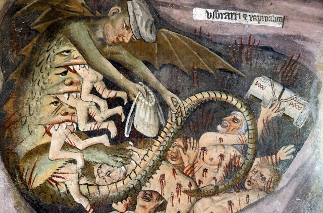 "A picture of usuerers in hell. This seems dramatic, but ""A usurer did nothing to help his community, he forsook husbandry or merchandise and instead was a parasite, worse than a thief, since thieves only stole from the rich and out of necessity. He wished for others to lack that he might profit.""- Source"