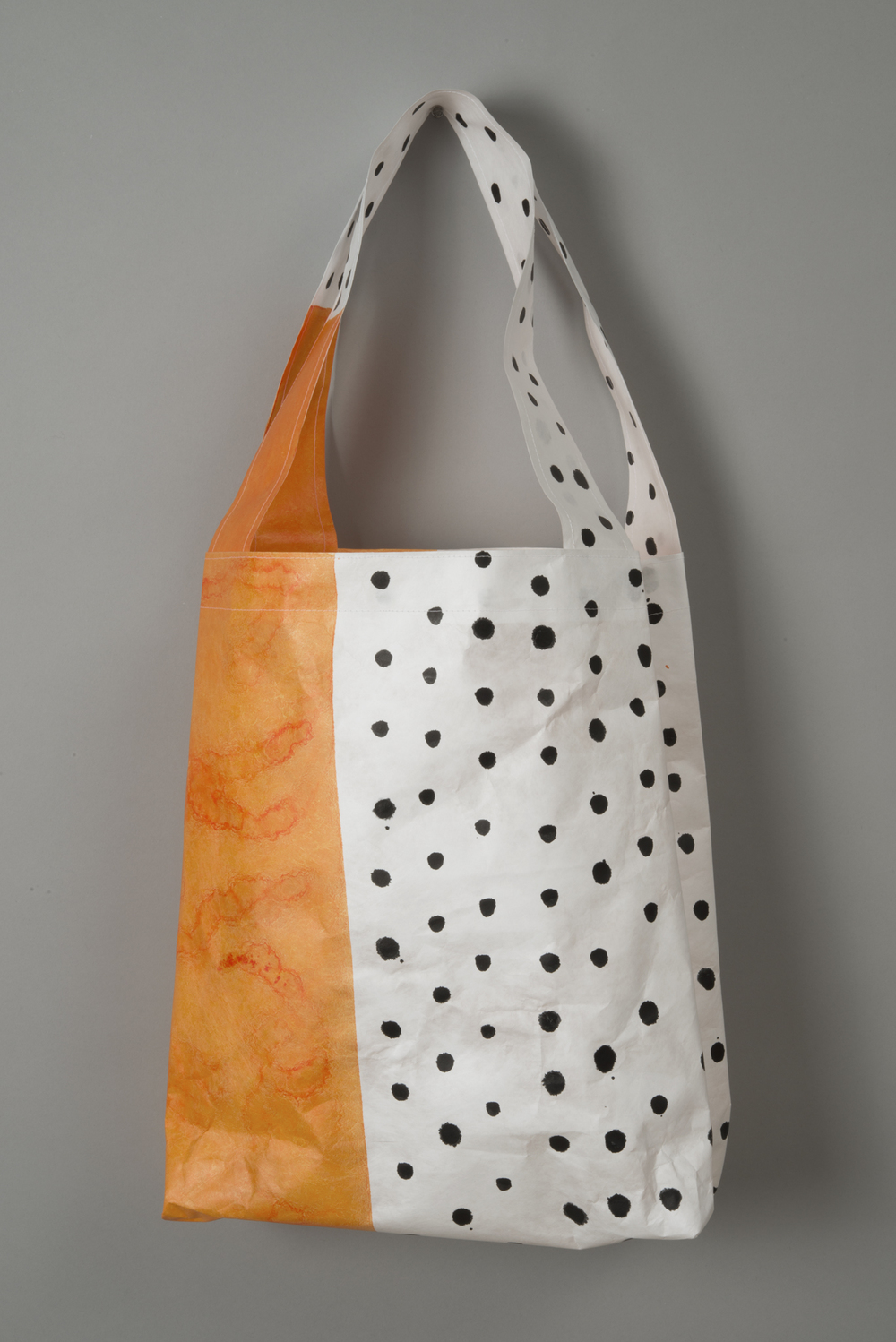 Tyvek Tote Orange Black Dots