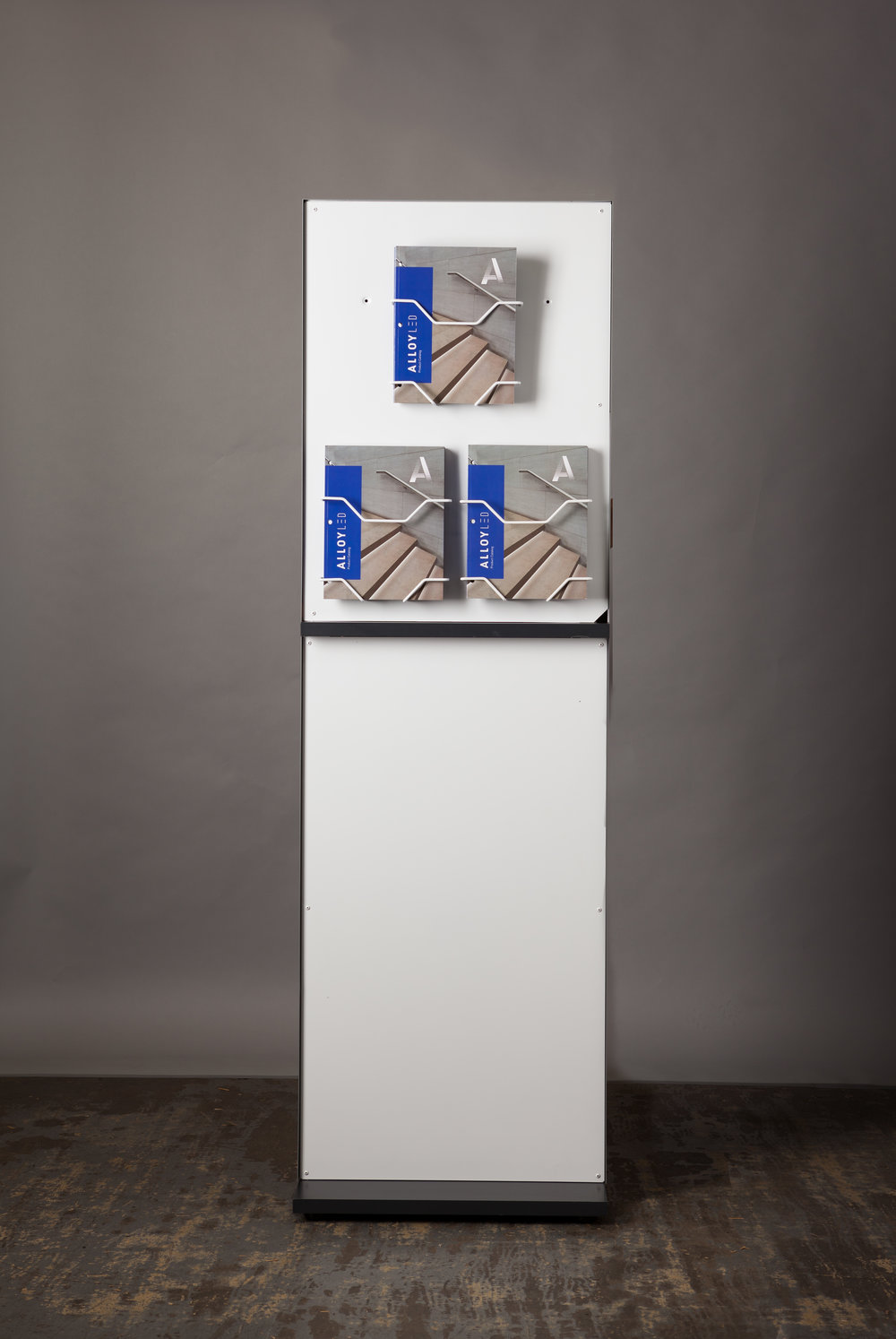 The reverse of the display has room for up to four brochure holders for convenient access.