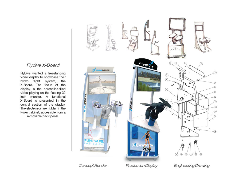 FlyDive Freestanding Display  - concept design and engineering
