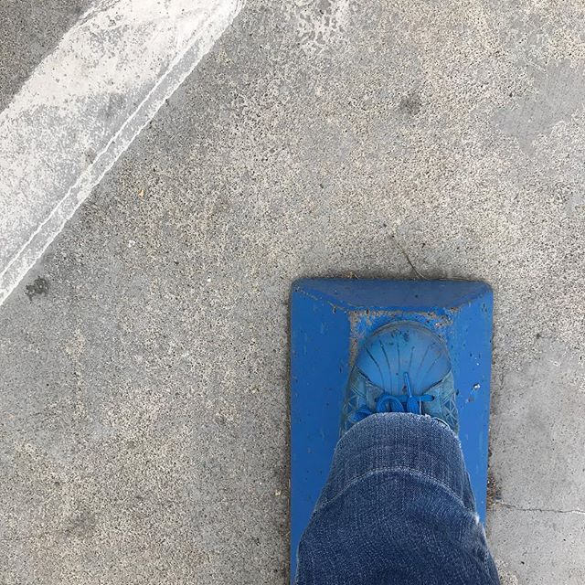 ...when your shoes match the parking stop. #lookdown #nofilter #blue #parkinglot