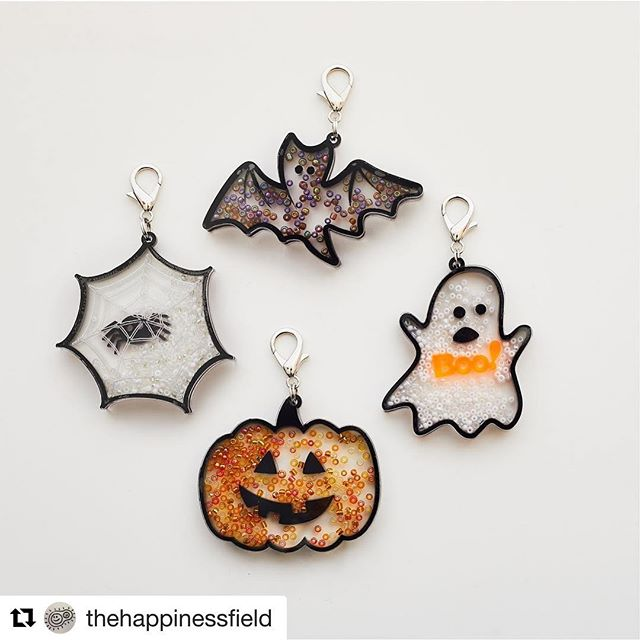 Friends! I did a thing! More shaker charms! @nilscarlson_photo helped too. #Repost @thehappinessfield ・・・ 👻🎃🕸🦇 Spooky Shakers charming their way into your Halloween groove. We're a bit late to the party with these so if you place your order before Friday 5pm PST, I'll work through the night to get your charm made/packed/shipped out by Saturday AM. Here's a Treat for you - use the code SPOOKY15 to save 15% if you buy more than one shaker charm.  #thehappinessfield #lasercapades #HalloweenCountdown
