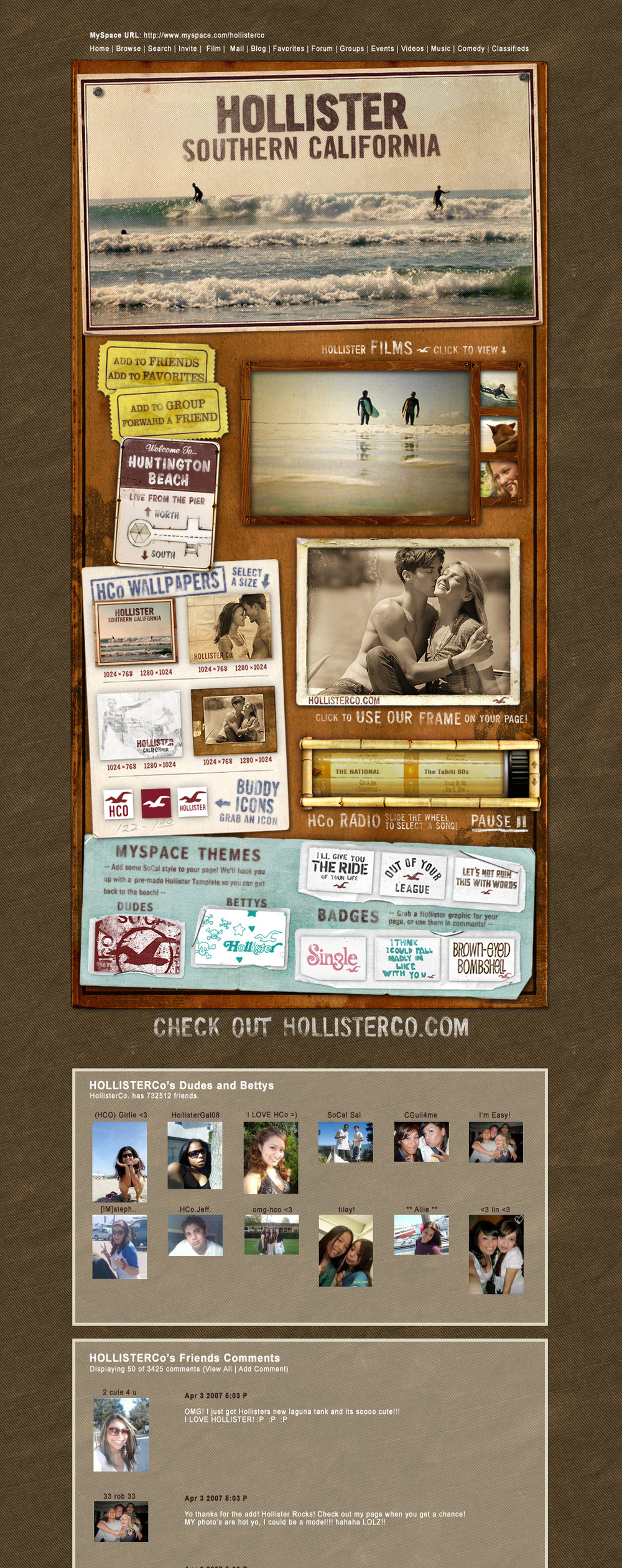 Hollister MySpace Layout -  2006 to 2008
