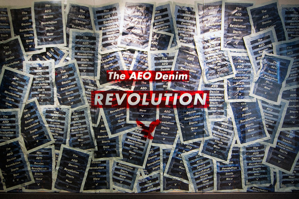 AEO Denim Revolution Teaser Window Display