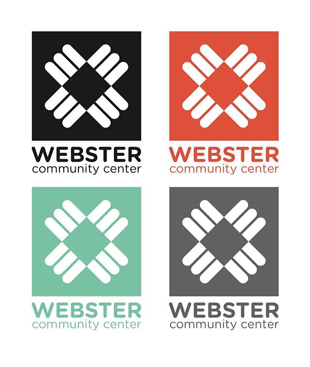 Color variations for Webster Community Center logo designed by Piper, Zak, and Elizabeth. The logo is based on the three archways at the entrance of the building.