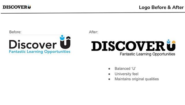 """Students Drew, Kylie W. And Gabrielle pitched a slight logo clean-up to make the @mydiscoveru to look more university/academic and to differentiate it from Discover Card, Discovery Channel and other """"discover"""" brands. What do you think of the before and after? #thisisou #studentdesign #designforgood #communitydesign"""