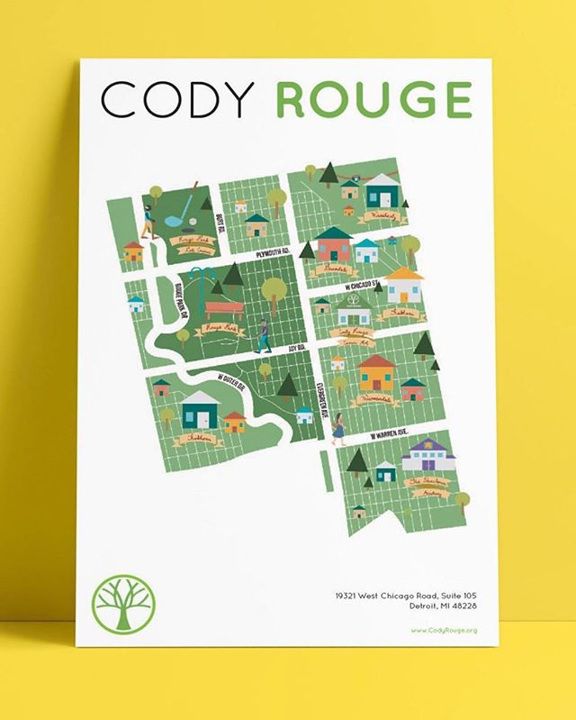 @codyrougecaa client dreamed of having community map posters throughout their neighborhood, so students Drew McHale and Emma Voelker presented this stunning illustrated version as an option yesterday.