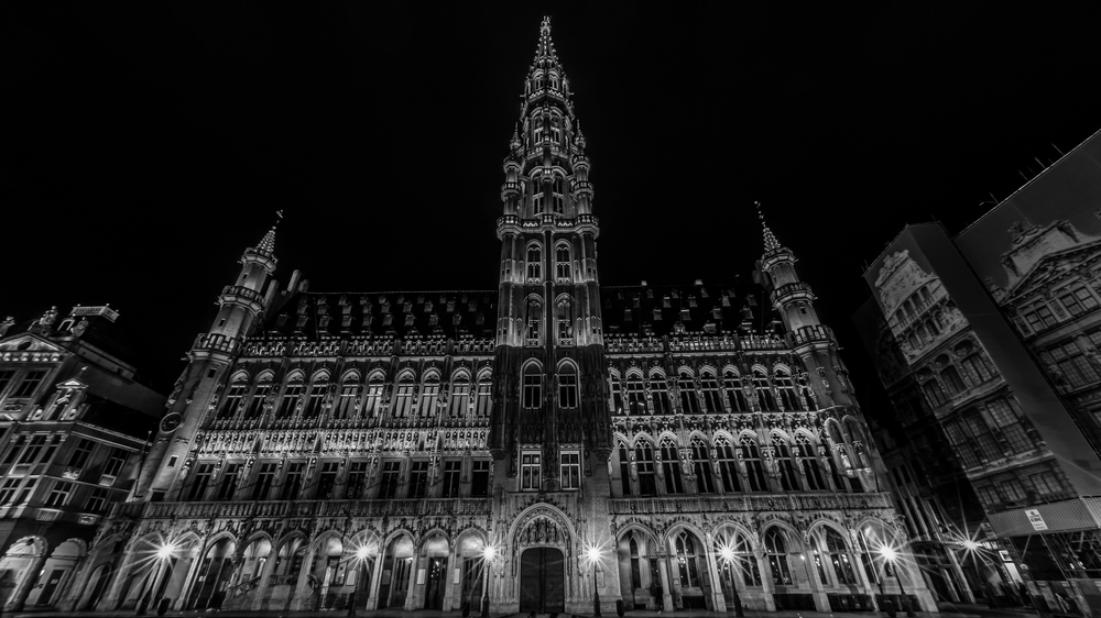 Brussels Town Church at night
