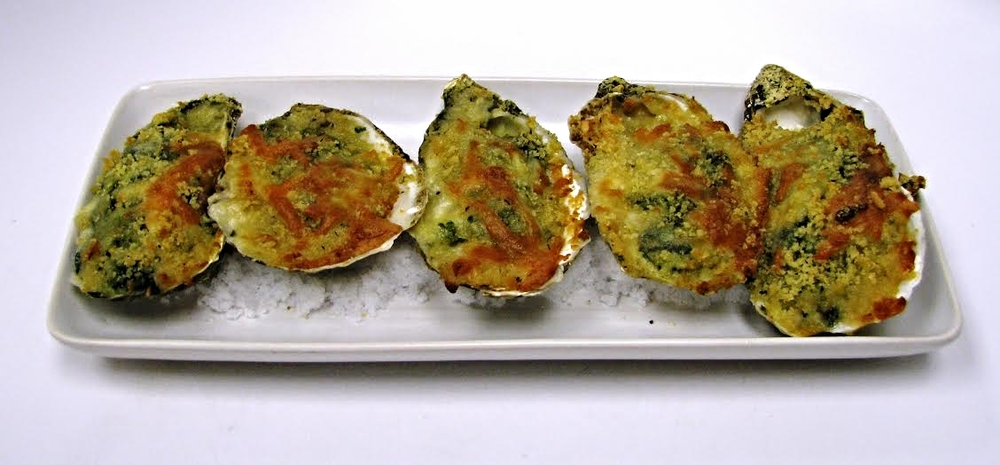 Oysters Legal (freshly shucked oysters baked with spinach, cheese and crumbs)