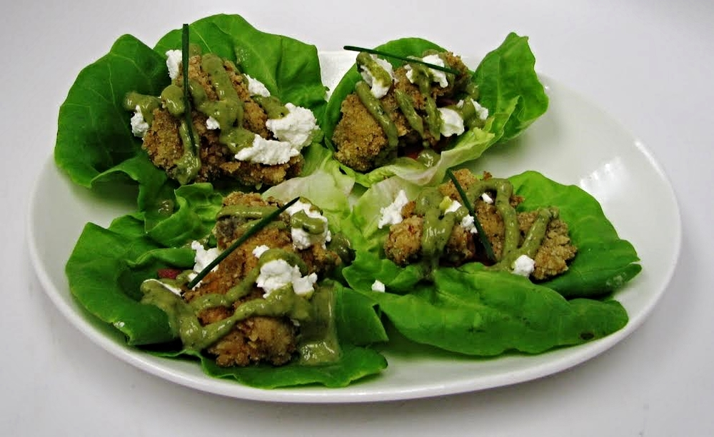 Bacon Crusted Oyster Lettuce Cups (Bibb lettuce, goat cheese, pickled radish, Green Goddess dressing)