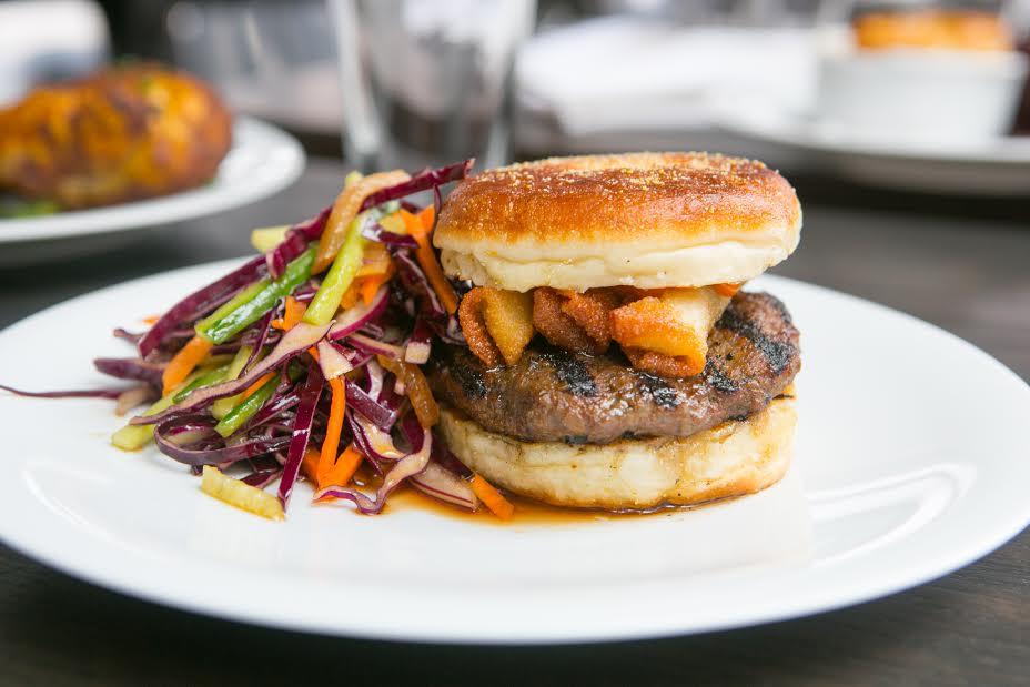 Grass Fed Burger -bulgogi marinade, bacon spring rolls, spicy mayo - $15
