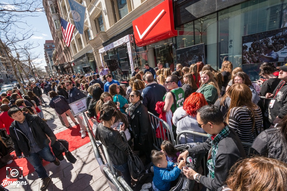 Huge crowds were outside the store to see Donnie Wahlberg and Jack & Jack.