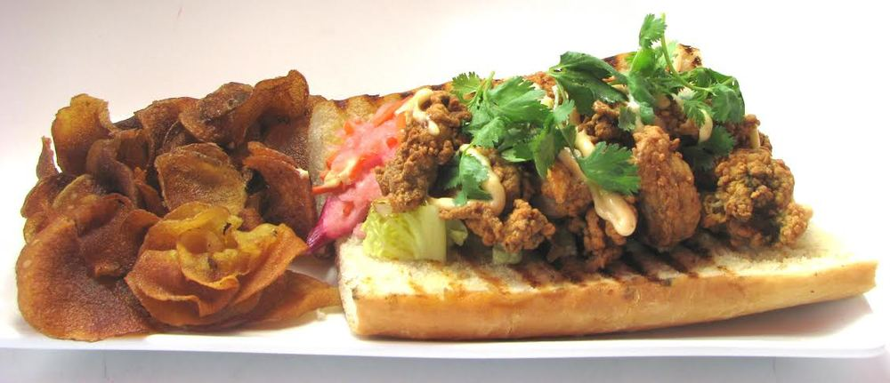 From  Legal Test Kitchen  (225 Northern Avenue, Boston) Fried Oyster Bahn Mi - pickled vegetables, chipotle aioli ($14.95)