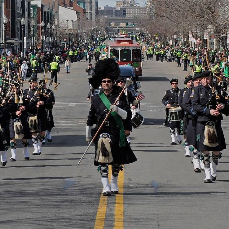 Boston Police Gaelic Column of Pipes and Drums march in Boston's St. Patrick's Day Parade.  Photo via Boston Police Gaelic Column of Pipes and Drums Facebook Page.