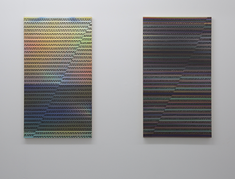 Left:  Social Validation Feedback Loop (ii),  permanent marker, UV print and holographic paper on wooden panel, 67 x 37.8cm Right:  Social Validation Feedback Loop (i),  permanent marker, UV print and holographic paper on wooden panel, 67 x 37.8cm