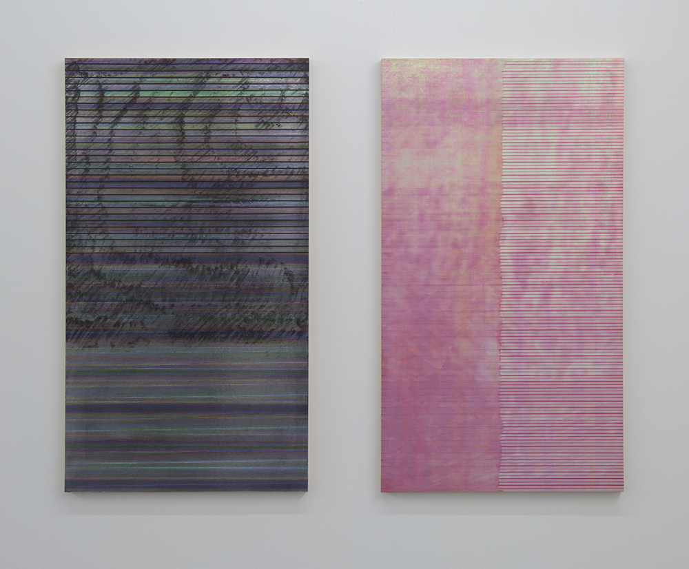 Left: Pillars of Light (Remix), 2017, permanent marker, UV print and holographic paper on wooden panel, 67 x 37.8cm Right: Oyster White Prisma (Remix), 2017,  permanent marker, UV print and holographic paper on wooden panel, 67 x 37.8cm