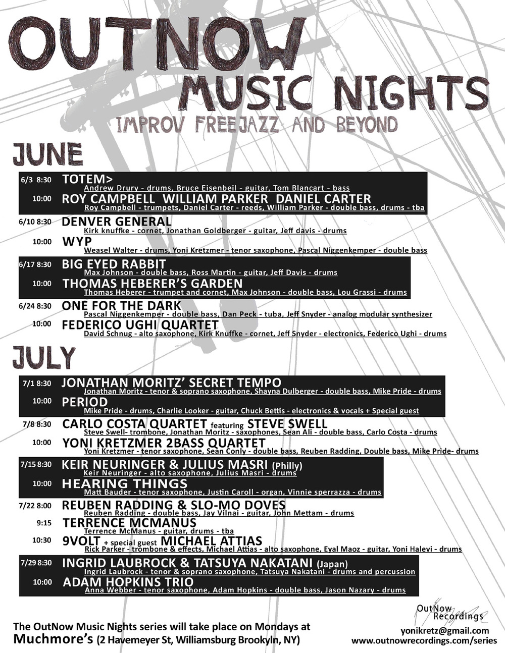 Out Night Music Nights program - June & July 2013